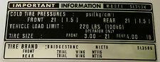 Honda SL350 SL350K Calcomanía Etiqueta de advertencia de precaución del neumático