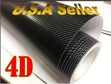 "12""x60"" 4D Carbon Fiber BLACK Vinyl Vehicle Wrapping Sticker Sheet AIR FREE"