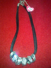 MIGLIO NECKLACE N1093 BURNISHED SILVER AND CRYSTAL BLACK LEATHER BNWT