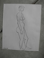 Vintage 1959  Pencil Drawing of Standing Nude Woman LOOK