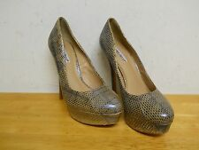 Charles David New Womens Tan Snakeskin Platform Heels 8 M Shoes NWOB