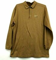 Nike Tiger Woods Mens XL Cotton Brown Tan Long Sleeve Golf Everyday Polo Shirt