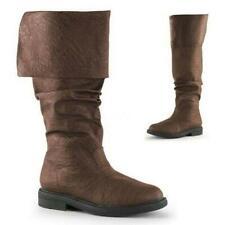 Vintage Men Mid-calf Boots Renaissance Knight Booties Retro Pirate Warrior Shoes