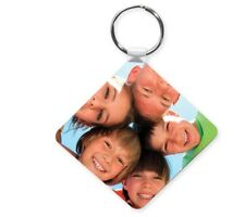 Plastic Photo Keyring Personalised / Personalized Image + Text Cool Gift Idea