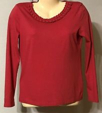 Talbots Pullover Top Size Small Petite VGC Red Cotton Modal Washable Long Sleeve