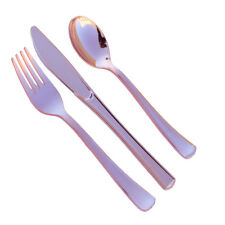 60 Assorted Rose Gold Wedding Birthday Party Tableware Plastic Cutlery-FREE SHIP