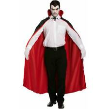Black + Red REVERSIBLE CAPE Men's Vampire Devil Cloak Fancy Dress Halloween