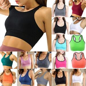 Ladies Women Padded Sports Bra Top Vest Gym  Stretch Fitness Yoga Running Summer