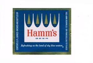 Unused 1960s white foil CALIFORNIA San Francisco HAMM'S BEER 11oz Label