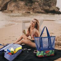 Large Mesh Beach Tote Bag Insulated Zipper Cooler Picnic Storage Beach Pool