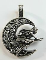 Sterling Silver (925)  Witch Riding On Broomstick Pendant  !!    Brand  New  !!