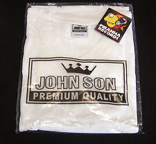 WHITE JohnSon Heavy Weight Cotton M V-Neck T-Shirt Piranha Records
