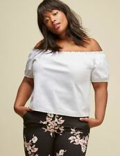 LANE BRYANT Off-the-Shoulder Poplin Cropped Top by GLAMOUR X - SIZE 14/16 WHITE