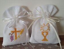 Sacchetti  sacchettini confetti comunione ricamo punto croce tela aida bianca