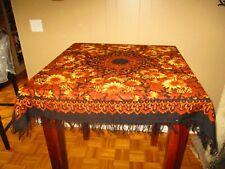Vintage Brocade fringe tablecloth Piano Shawl Scarf Fall Flowers & Black