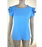 T-Shirt Blusa Donna Camicia PINKO LU216 Maniche Corte Blu/Azzurro Tg M