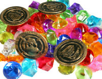 Pirate LOOT, Acrylic Diamond, Rocks & Play Coins Party Decor Choose Pack Amount