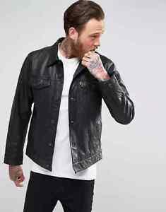 Men's Levi's Buffalo Leather Trucker Jacket - Black - Size Medium