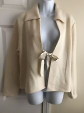 WILLI SMITH Woman's 100% Wool Ivory Jacket with Silk Closure Size M - NWT