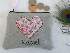 Handmade Personalised Heart Coin Purse choice of wording floral grey tweed Nanny