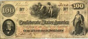 Confederate States $100 Dollars CR-315 Currency Banknote 1862 AU