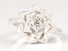 Ring In Finest 925 Sterling Silver Round Shape D-Color 0.60Ct Solitaire Women's