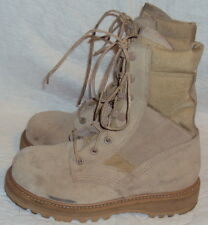 MILITARY BOOT, UNISEX TAN LEATHER BOOT, SIZE 4 W,  10 3/8 IN. L. 3 7/8 IN. W, US