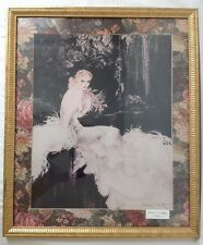 1920s Vintage Louis Icart Framed Fashion Print or Poster Gold Frame White Dress
