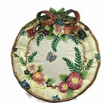 FITZ AND FLOYD CLASSIC WOODLANDS SPRING PLATE RETIRED 1997 BOW FLOWERS