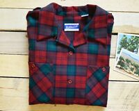 Women's L/XL PENDLETON Knockabouts 100% Virgin Wool Shirt Jacket Red Green Plaid