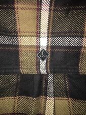 prAna Channing Flannel Button Down Charcoal Brown White Men's Small New With Tag