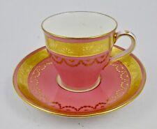 Antique Mintons Demitasse Cup & Saucer, Pink & Gold