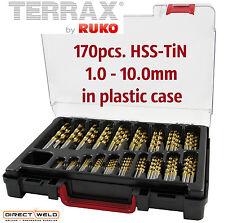 TERRAX by RUKO, 170pcs Drills Set, HSS-TiN, 1-10mm in increments of 0.5mm