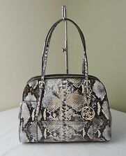 Guess Python Huntley Triple Compartments Tote Satchel Shoulder Bag