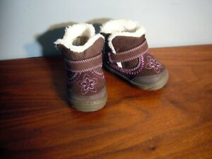 Girl's Toddlers Surprize Stride Rite Arliss Fur Lined Brown Boot Pink Flower sz2