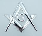 "Mason Masonic Chrome silver decal emblem 3D sticker car bike 2.5"" flexible"