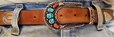 Vintage Sterling, Coral and Turquoise belt, buckle and keeper. All you see here.