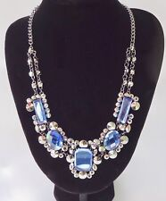 Blue and Silver Immitation Gemstone Statement Necklace