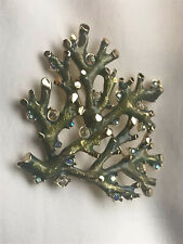 Estate St John Knit Blue Green Enamel Crystal Coral Reef Brooch