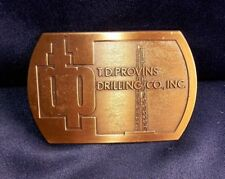 T. D. Provins Drilling Company Inc. Metal Belt Buckle Copper Color Michigan Co