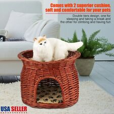 2 Layer Handmade Wicker Cat Bed Basket Pet Dog Sleeping House with Soft Cushion