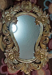 Asian Carved Wood Mirror Floral Design Little Mirrors embedded From Indonesia