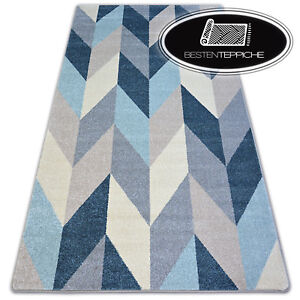 8 Größen Modernen Weich Teppich NORDIC TANNE blau creme grau angenehm modisch