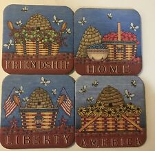 Longaberger Set Of 4 Patriotic Coasters * *New Free Ship