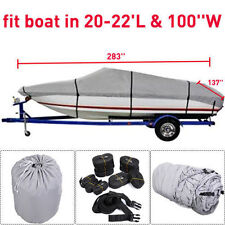 New 20-22 Ft Waterproof Heavy Duty Fabric Trailerable V shape Boat Cover Gray HM