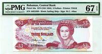 BAHAMAS 3 DOLLARS 1974 ND 1984 BAHAMAS CENTRAL BANK GEM UNC PICK 44 a VALUE $960