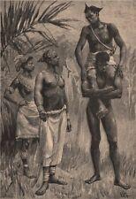 Group of Kalundas. Congo. Congo Basin 1885 old antique vintage print picture