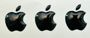 3pcs. Black Domed Apple logo stickers for iPhone cover. Size 15.5x12.6 mm