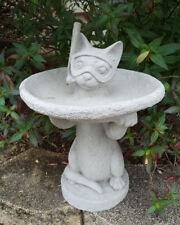 #2 LITTLE SNORKEL CAT KITTY GRAY CEMENT CONCRETE BIRD BATH OR FEEDER STATUE