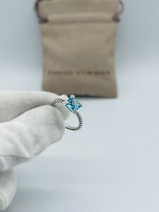 David Yurman Chatelaine 8mm Blue topaz and Diamond Ring size 7